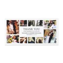 BLACK & WHITE COLLAGE  WEDDING THANK YOU CARD PHOTO CARD by