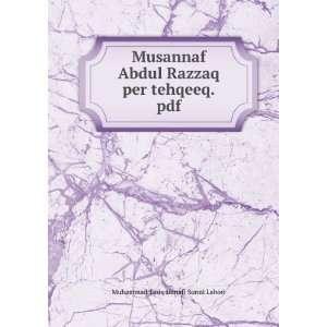 Musannaf Abdul Razzaq per tehqeeq.pdf Muhammad Tariq