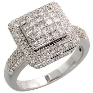 14k White Gold Fancy Ladies Square Diamond Ring, w/ 1.45
