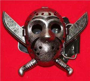 FRIDAY THE 13th Jason Voorhees MASK MACHETE Belt BUCKLE