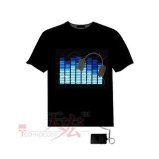 Sound Activated EL Equalizer LED T Shirt Earphone Disc