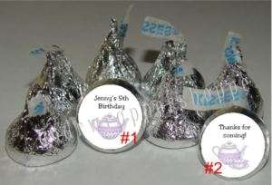 TEA PARTY BIRTHDAY Candy Wrappers Kiss Labels Favors