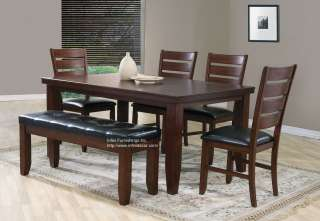 6PC Dining Room Set Table Chair and Bench Furniture 620