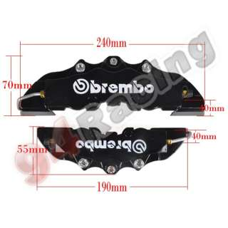 Black ABS 4pcs Front+Rear Disc Brake Caliper Cover Brembo Universal