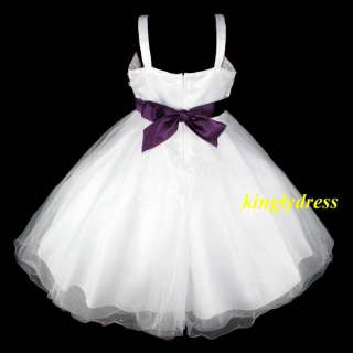 NEW Flower Girl Pageant Wedding Princess Dress Purple White Size 5, 6