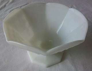 Milk Glass Grape Leaf Panel Pedestal Fruit Compote Bowl
