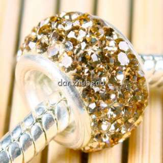 925 SILVER LIGHT GOLDEN SWAROVSKI CRYSTAL BIG HOLE EUROPEAN BEAD