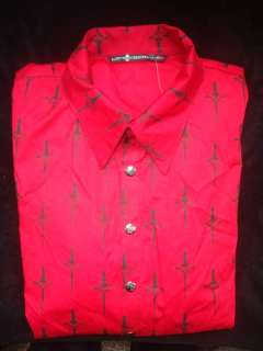 Mens Lip Service Red & Black Skull & Cross Shirt Long Sleeve L Large