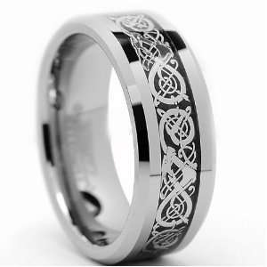 8MM Celtic Dragon Tungsten Carbide Ring Wedding Band Size
