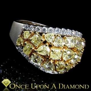 18K White Yellow Two Tone Gold 3.00ctw Fancy Yellow Diamond Cluster