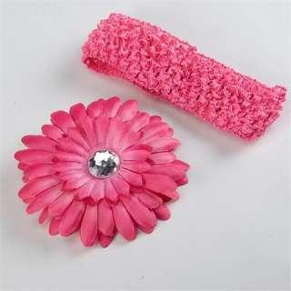 Baby girls crochet headband daisy flower hair clip 14 color free