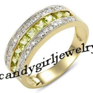 Green Peridot 10KT Yellow Gold Filled Ring Size 10 Best Gift