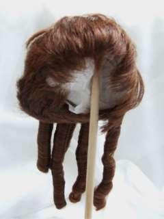 Long Curls Auburn Doll Wig Baby, Reborn OOAK BJD Dollfie