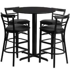 Table Set with Ladder Back Metal Bar Stool and Black Vinyl Seat, Seats