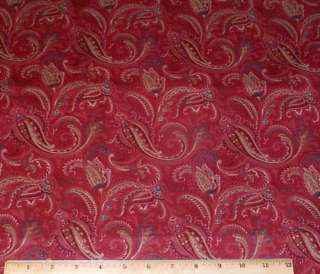 Paisley Floral Rust Greens cotton Fabric 4yd Cranston