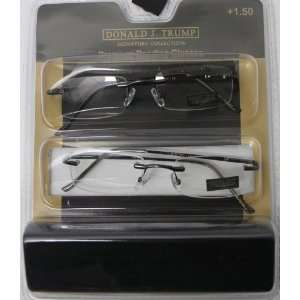 Donald Trump Readers Two Pack Rectangle Rimless Gunmetal, Metal Power