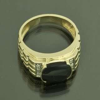 10K Yellow Gold Black Onyx Mens Ring