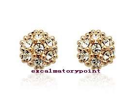 9mm 18k Gold GP use Swarovski Crystal Ball Stud Earring _ IE14