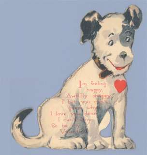 Vintage Valentine Card 1940s DOG Stand Up FOX TERRIER