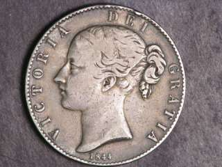 GREAT BRITAIN 1844 1 Crown Victoria Young Head Silver F VF