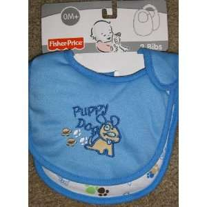 Fisher Price 2 pack Bib Set for Baby Boy Puppy Dog