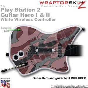 PS2 Guitar Hero I & II White Wireless Controller Skin Camouflage Pink