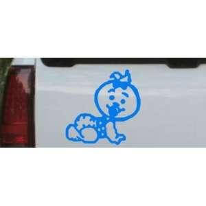 Baby Girl Crawling Car Window Wall Laptop Decal Sticker    Blue 22in X