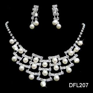 Wedding Bridal pearl crystal necklace earring set 207