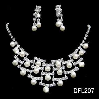 Wedding Bridal pearl crystal necklace earring set 207