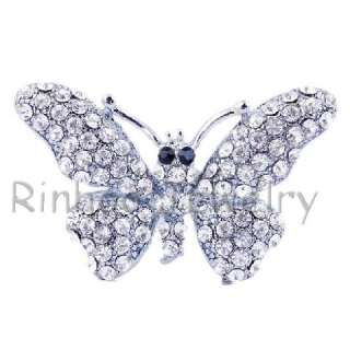 6pcs Butterfly Rhinestone Crystal 38*24MM Multicolor Brooches NO