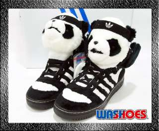 2011 Adidas Original Jeremy Scott Panda Bear Black White US 9 & 9.5