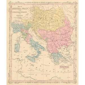 Smith 1860 Antique Map of Austria, Italy, Turkey & Greece
