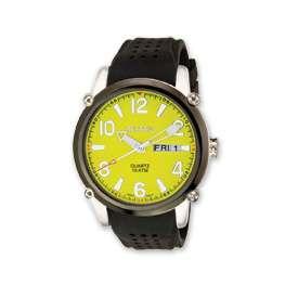 Croton Mens Yellow Dial Black Silicon Band Quartz Watch