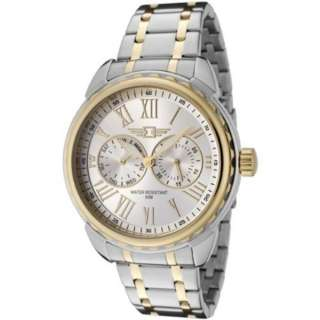 By Invicta Mens 89052 002 Two Tone Stainless Steel Silver Dial Day