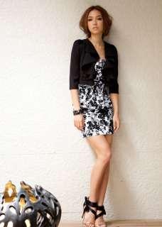 Fashion Romantic Floral Print Strapless Mini Dress Black 1920