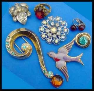 Vintage Rhinestone Costume Jewelry Lot Art Deco Enamel Czech 1930s Fur