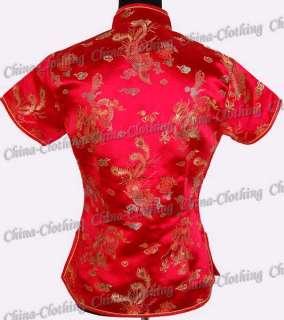 Royal Tunic Top Shirt Satin Blouse Red L/Sz.12 637Y