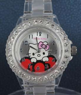 Hello kitty transparent band crystal quartz wrist watch