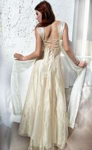 up GODDESS Sheer Chiffon Organza BOHO Empire WEDDING PROM Dress S/M