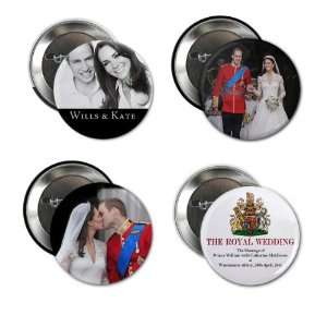 Prince William Kate Middleton Royal Wedding 4 Pack of 2.25