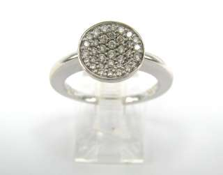 Estate Movado 0.50ct Diamond 18K Solid White Gold Concave Ring Size 5