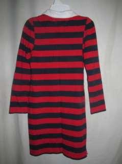Tommy Hilfiger Red & Navy Striped Logo Flag Knit Dress Girls Large 12