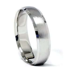 Beveled & Brushed Wedding Band 14K White Gold Jewelry