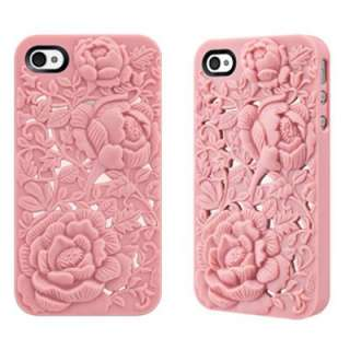 Luxury 3D Sculpture Design Rose Flower Back Case Cover For iPhone 4 4S