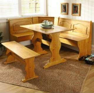 Kitchen Dining Room Wood Breakfast Nook Table and Bench Chair 3PC Set