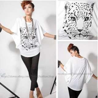 HOT NEW Korea Fashion Womens Casual Batwing Leopard T Shirt Cotton Tee