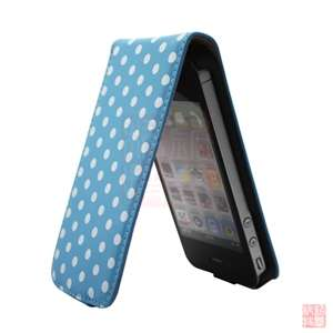 Blue POLKA DOT LEATHER FLIP CASE COVER POUCH FOR Apple iPhone 4S 4 4G