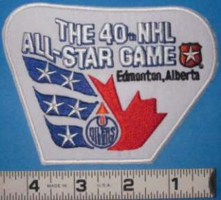 40th NHL ALL STAR GAME PATCH EDMONTON OILERS 1989
