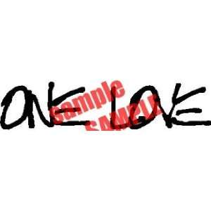 ONE LOVE BOB MARLEY WRITING WHITE VINYL DECAL STICKER