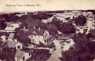 1920 BIRDS EYE VIEW OF MAUSTON WISCONSIN dirt roads